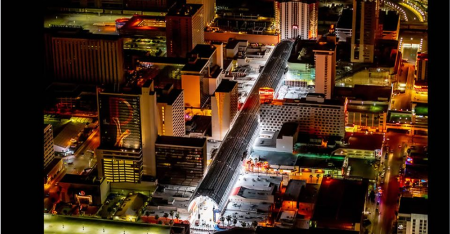 Las Vegas in Pictures at Night from the Air
